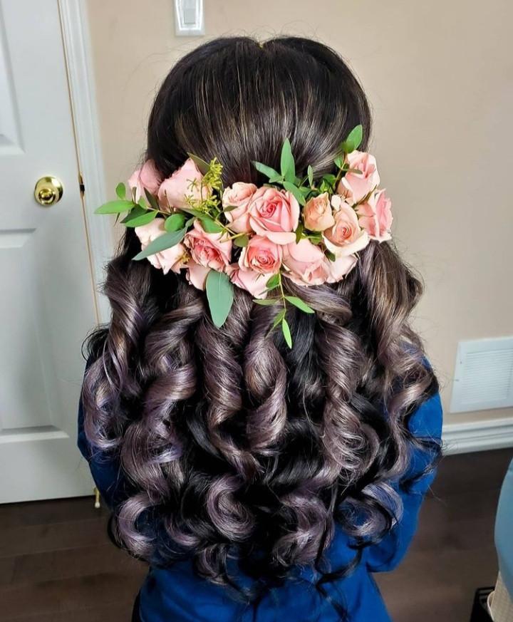 - Make Me Bridal Artist: Mandy Samra Makeup Artistry. #boho #halfuphair #curls