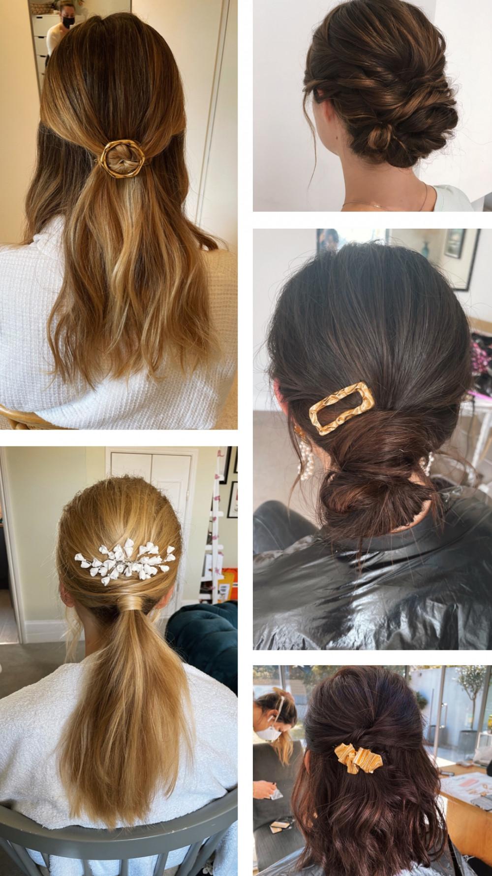 Collage of hairstyles. - Make Me Bridal Artist: Quelle Bester. #halfuphair #modernhair #upstyle #hairup