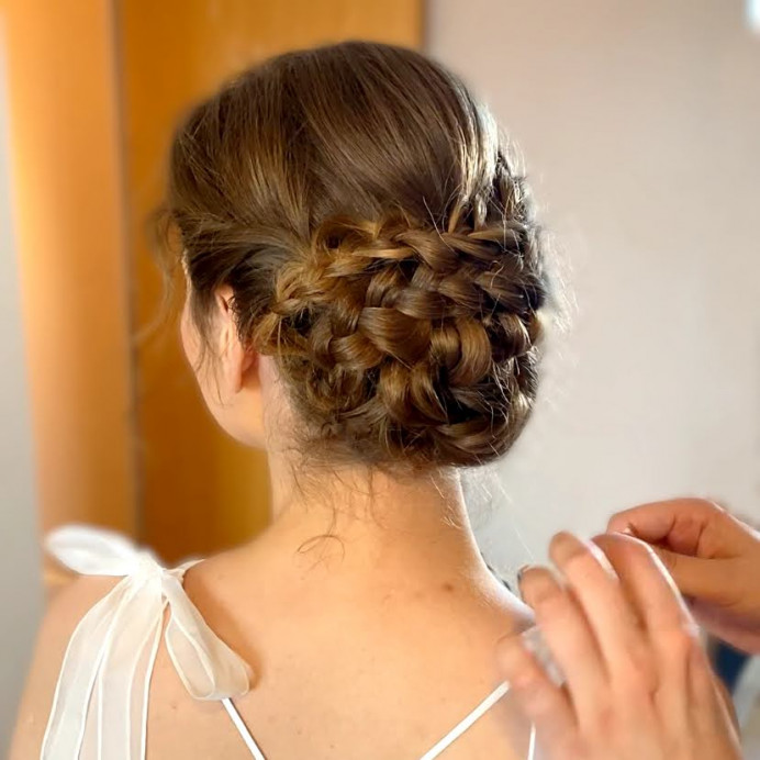 Plaited up do - Make Me Bridal Artist: Amanda Roberts Hair & Makeup. Photography by: Amanda Roberts. #boho #plaits #weddinghairandmakeup #plaitupdo #lowupdo #braids #lowchignon