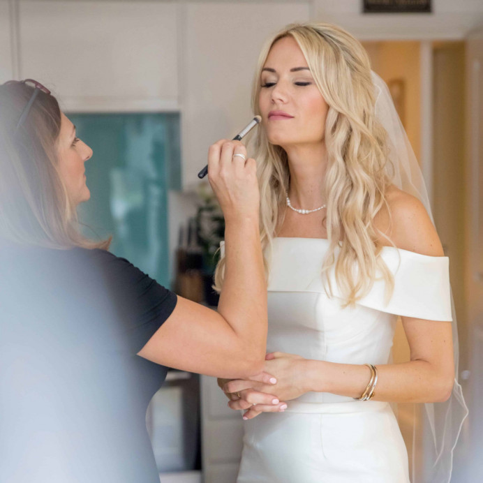 - Make Me Bridal Artist: Amanda Roberts Hair & Makeup. Photography by: Andy Mac Photography. #boho #naturalmakeup #halfuphair #blonde #meatwork #bridalhair #bridalmakeup #bardot #beachwaves