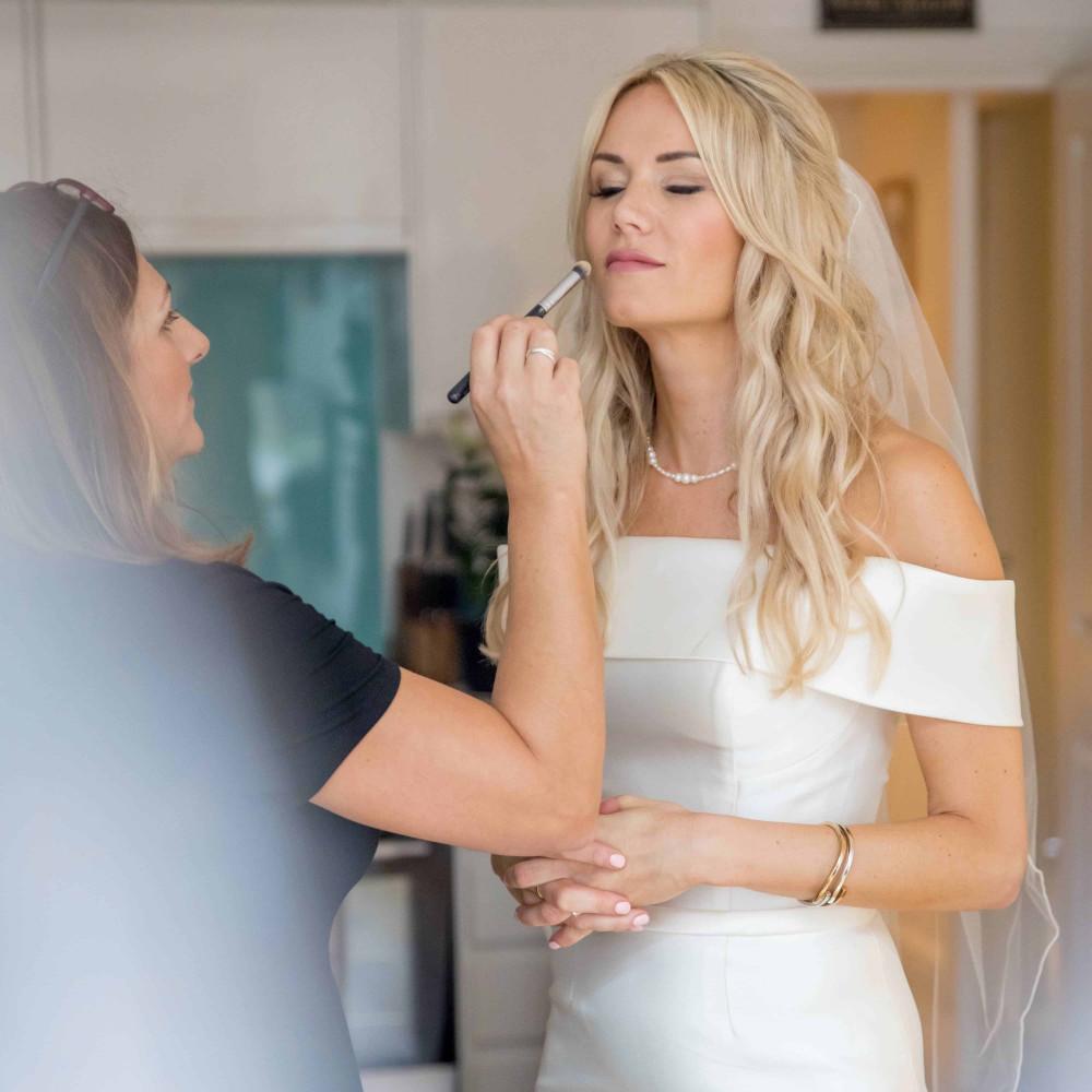 - Make Me Bridal Artist: Amanda Roberts Hair & Makeup. Photography by: Andy Mac Photography. #boho #naturalmakeup #halfuphair #blonde #meatwork #bridalhair #bridalmakeup #bardot #beachwaves