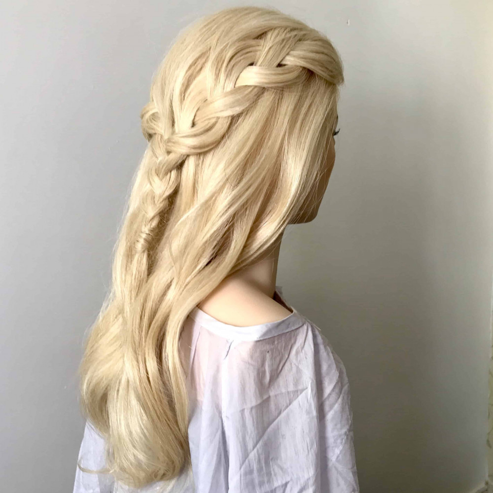Lockdown hairstyling, keeping my practice up when I was unable to work - Make Me Bridal Artist: Amanda Roberts Hair & Makeup. #halfuphair #bridalhair #bridesmaidhair #waves #smoothwave #plait