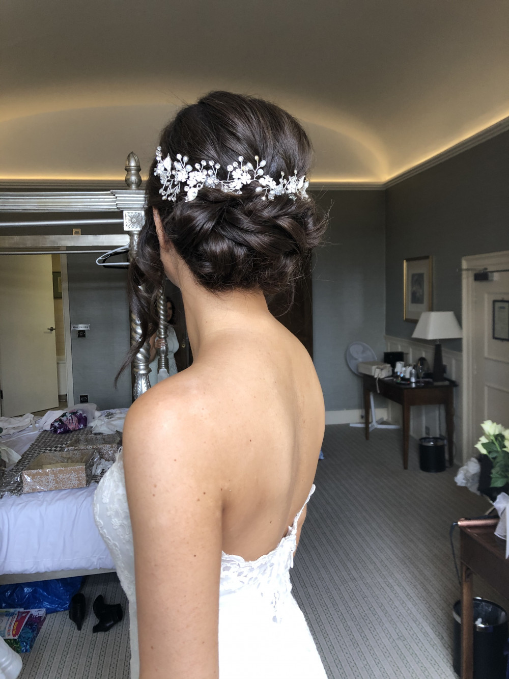 Beautiful soft updo finished with some sparkle! - Make Me Bridal Artist: Neecol Whyte Weddings. #glamorous #bridalhair #romantichairup #hairup #softupdo