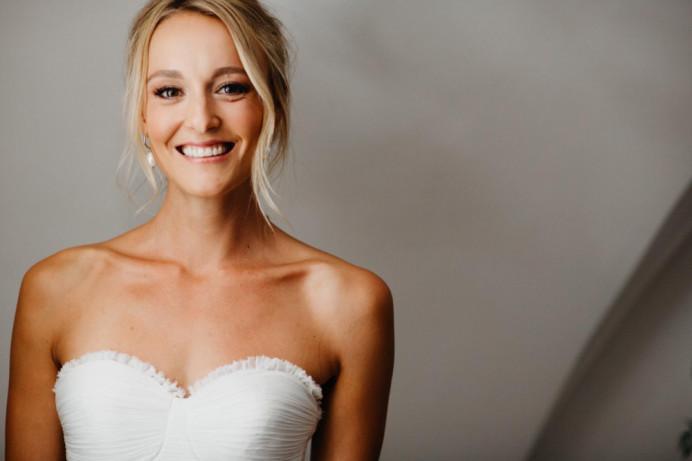Natural tanned glowing skin with soft updo. - Make Me Bridal Artist: Neecol Whyte Weddings. #classic #naturalmakeup #weddingmorning #bridalhair #romantichairup #destinationwedding #glowingskin