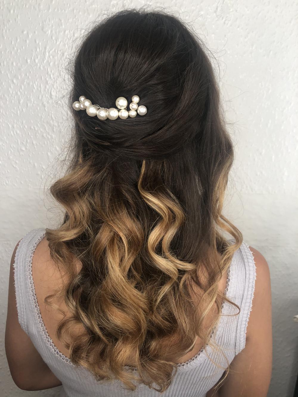 - Make Me Bridal Artist: Neecol Whyte Weddings. #classic #halfuphair #bridalhair #bridesmaidhair #curls #softcurls #halfuphalfdown