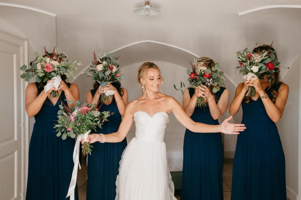 Soft natural bronze look for this beautiful bride for her destination wedding in Italy! - Make Me Bridal Artist: Neecol Whyte Weddings. #bridalmakeup #bridalhair #bohobride #destinationwedding #glowingskin #softupdo #romantichair