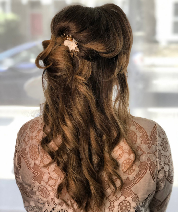 Half up with a twist in the back, keeping it soft and natural. - Make Me Bridal Artist: Neecol Whyte Weddings. #classic #boho #halfuphair #bridalhair #romantichairup #softupdo
